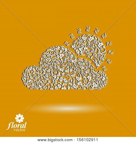 Sunny weather stylized icon, meteorology pictogram created from floral pattern. Summer cloud with a shining sun graphic design element.