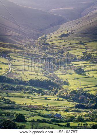 Evening Light over Edale Valley, Peak District, Derbyshire, England