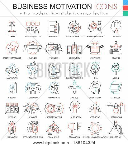 Vector Business motivation ultra modern color outline line icons for apps and web design