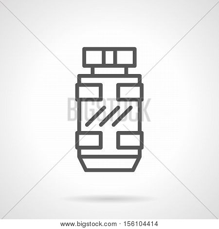 Modern style bottle of mens fragrance. Perfumery products. Sport perfumes, cologne, deodorant. Single black line design vector icon.