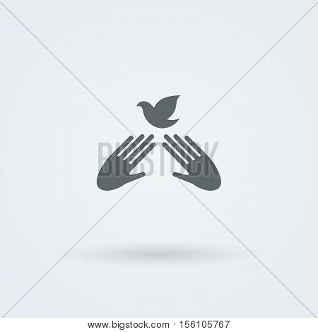 Icon with two vector hands in a handshake. Greeting. Pair work. Friendship. Monochrome onoicon. Bird of Peace and Friendship.