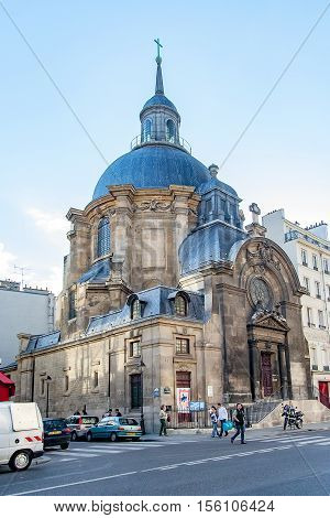 PARIS, FRANCE circa april 2016. Temple du marais, located in the 4th arrondissement of Paris, in the district of Le Marais