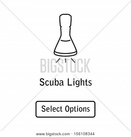 Icon lamp scuba diving equipment in a modern style lines. Isolated element for website, online Store or shop. Vector illustration. eps10