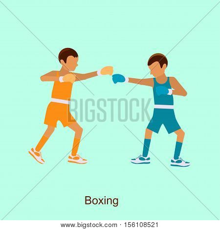 Sport people activities, boxing icon isolated, two boxers on squared ring, vector eps10