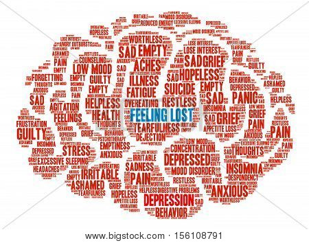 Feeling Lost Brain word cloud on a white background.