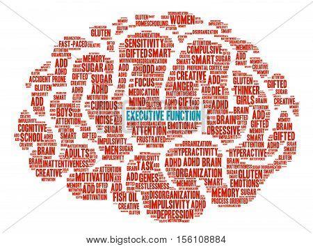 Executive Function Brain Word Cloud