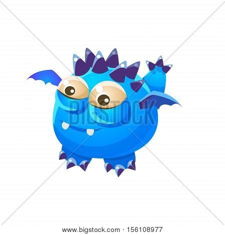 Blue Spiky Fantastic Friendly Pet Dragon With Tiny Wings Fantasy Imaginary Monster Collection. Colorful Imaginary Dragon Like Alien Creature From Another Planet.