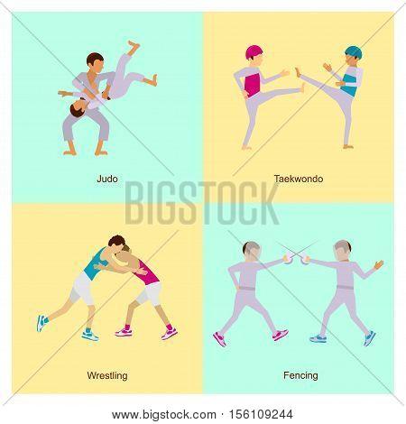 Sport people activities icons set judo, taekwondo, wrestling, fencing, isolated vector eps10