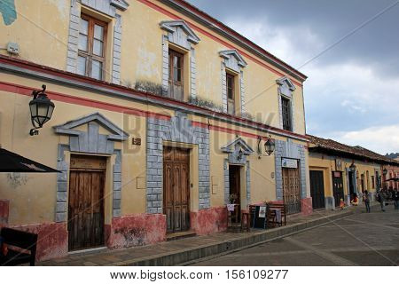 Houses in the cultural capital of Chiapas, San Cristobal de las Casas, Mexico. The city maintains its Spanish colonial architecture.