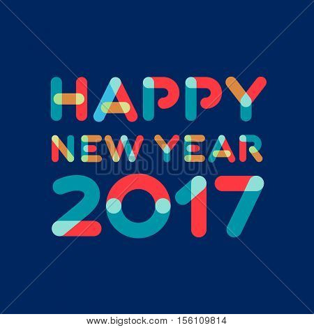 Happy New Year 2017 Greeting Card Design