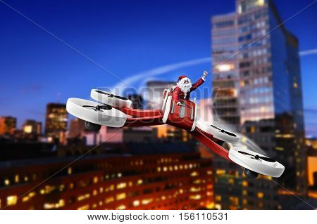 funny Santa flying on UAV drone for Christmas presents delivery