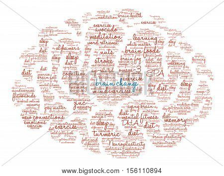 Brain Plasticity Brain word cloud on a white background.