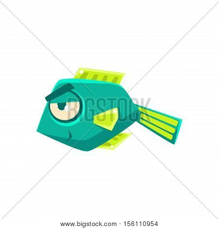 Turquoise Cheeky Fantastic Aquarium Tropical Fish Cartoon Character. Fantasy Warm Water Aquatic Life And Marine Fish Collection Element.