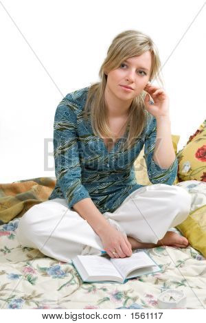 Woman Is Reading Book