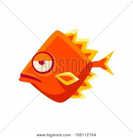 Snobbish Orange Diamon Shaped Fantastic Aquarium Tropical Fish Cartoon Character. Fantasy Warm Water Aquatic Life And Marine Fish Collection Element.