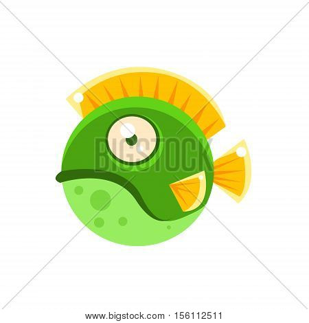 Grumpy Green Round Spotted Fantastic Aquarium Tropical Fish Cartoon Character. Fantasy Warm Water Aquatic Life And Marine Fish Collection Element.