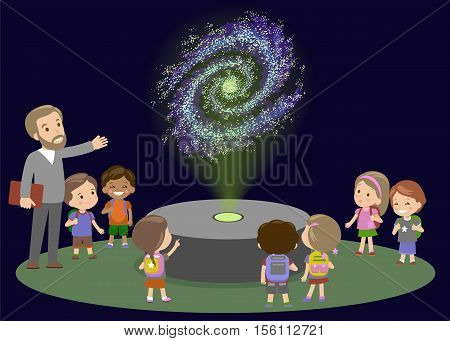 School Trip to Planetarium with Teacher. Kids boy and girls on lecture about space galaxy. Astronomy lesson of future. innovation Education Museum New Technology Hologram Vector Illustration
