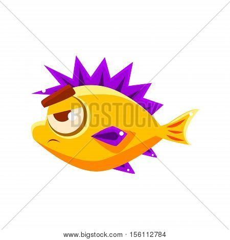 Pissed Off Yellow Fantastic Aquarium Tropical Fish With Spiky Purple Fins Cartoon Character. Fantasy Warm Water Aquatic Life And Marine Fish Collection Element.