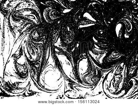 Vector black and white marbled abstract background. Liquid pattern. Grunge vector texture