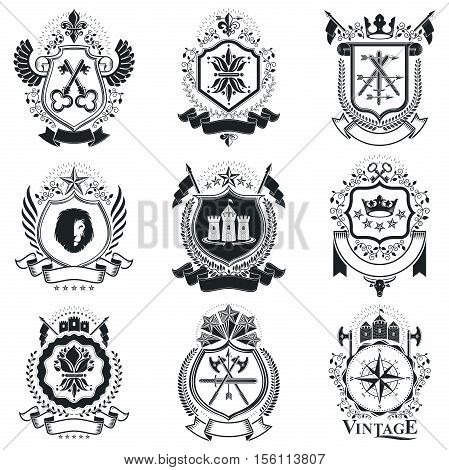 Heraldic emblems decorated with crowns, animals, armory and hand tools. Vector symbolic illustrations collection.