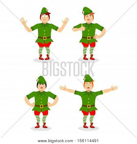 Christmas Elf Set. Various Movements Assistant Of Santa Claus. Surprised And Sleep Little Man In Gre