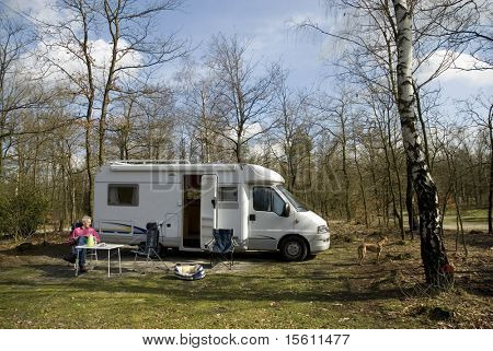 Man by his camper