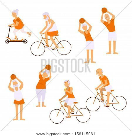 Elderly people doing exercises in different poses. Healthy lifestyle, active lifestyle retiree. Sport for grandparents, elder fitness and cycling for Seniors isolated on white background.  Vector illustration eps10