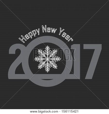Happy New Year 2017 Greeting Card - Merry Christmas Letter Background Postcard Calligraphy Typography Illustration Vector Stock