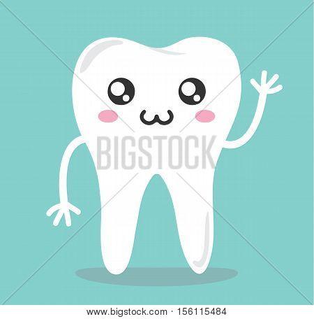Teeth Kawaii Cartoon Cute Icon - Teeth Character Kawaii Flat Isolated Design Vector Illustration Stock