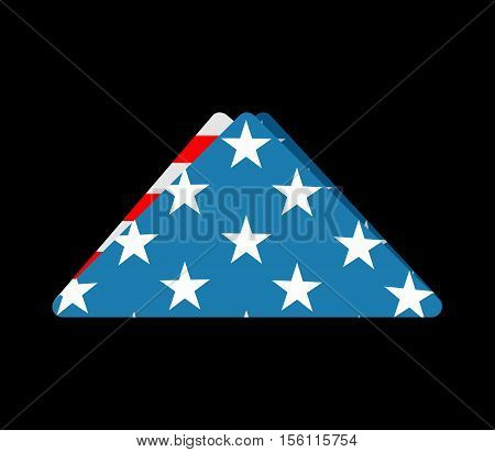 Folded Usa Flag. Symbol Of Mourning. National Symbol Of United States Of Sorrow. American Banner Tri