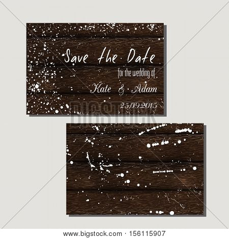 Modern card templates with grain elements on wood background. Vector wood design cards. Perfect for Save the date Valentine's Day wedding invitation.