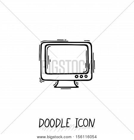 Doodle icon of monitor. Desktop computer, monoblock. Office pictogram.