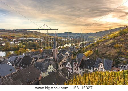 Autumn Colorful Moselle Landscape  And Highmosel Bridge Under Co