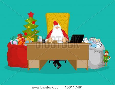 Santa Job. Claus Checks Mail From Children. Big Bag Of Incoming Post. Red Gift Sack Of Toys And Swee