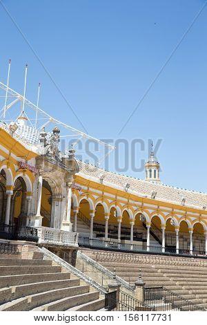 SEVILLE SPAIN - JUNE 4: Plaza de toros de la Real Maestranza de Caballeria de Sevilla on June 4 2014 Spain. Also called Plaza de Toros of Seville it is the oldest spanish bullring