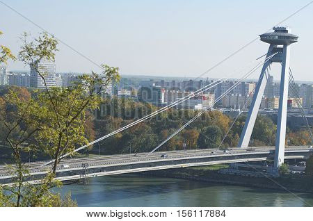 Bridge of the Slovak National Uprising in Bratislava Horizontal