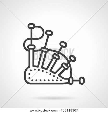 Abstract symbol of bagpipe. National Scottish music instrument. Traditional musical objects. Single black line style design vector icon.