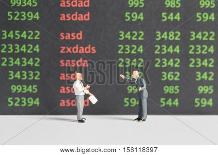 Business concept : CEO Business man standing in front of a graph.