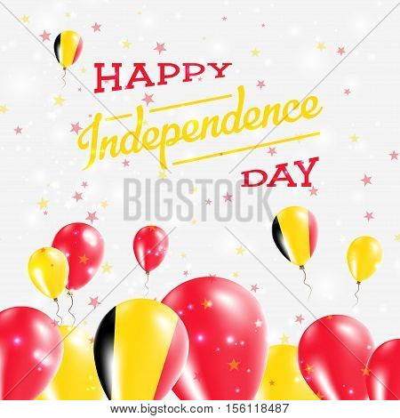 Belgium Independence Day Patriotic Design. Balloons In National Colors Of The Country. Happy Indepen