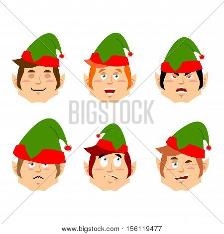 Christmas Elf Emoji. Emotion Set. Aggressive And Good Helper Of Santa Claus. Surprised And Sleep Lit