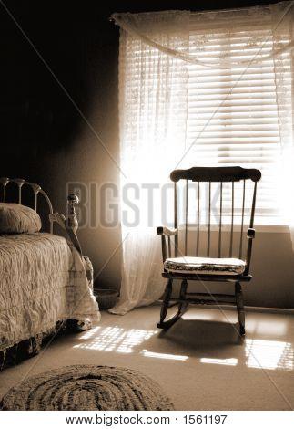 Window Light Room In Sepia