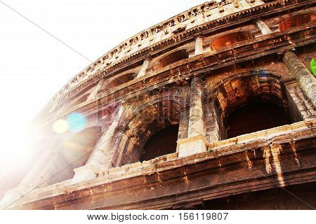 A close-up of the Colosseum in sunlight