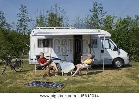 camper with elderly couple