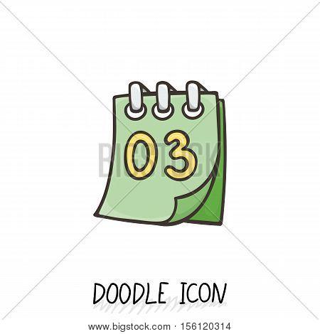 Doodle calendar icon. Vector illustration. Tear-off calendar.