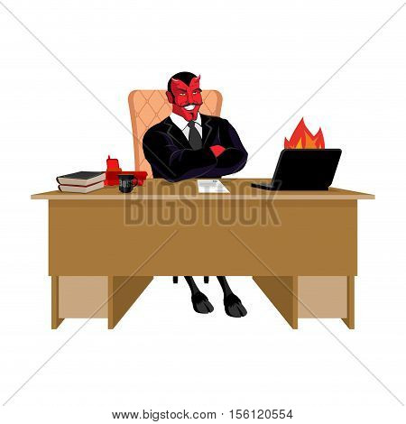 Red Demon Boss At Job Table. Satan Leader Sitting In Office. Devil Of Workplace. Laptop And Phone. C