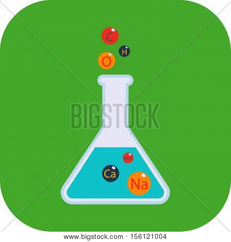 Chemical conical flask icon laboratory glass beaker lab vector