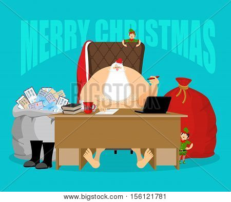 Merry Christmas. Santa Office. Claus Checks Mail From Children. Big Bag Of Incoming Post. Red Gift S
