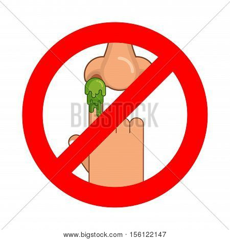 Forbidden To Pick Nose. Ban Booger. Red Prohibition Sign. Strikethrough Snot. Stop Snivel. Green Nas