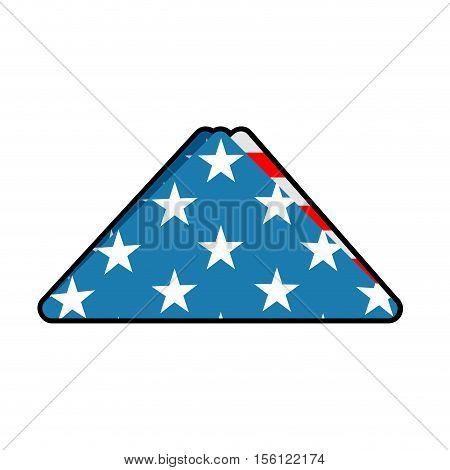 Folded Us Flag Symbol Of Mourning. National Symbol Of United States Of Sorrow. American Banner