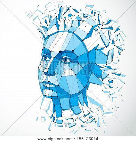 3d vector portrait created with lines mesh. Intelligence allegory blue low poly face with splinters which fall apart head exploding with ideas thoughts and imagination.